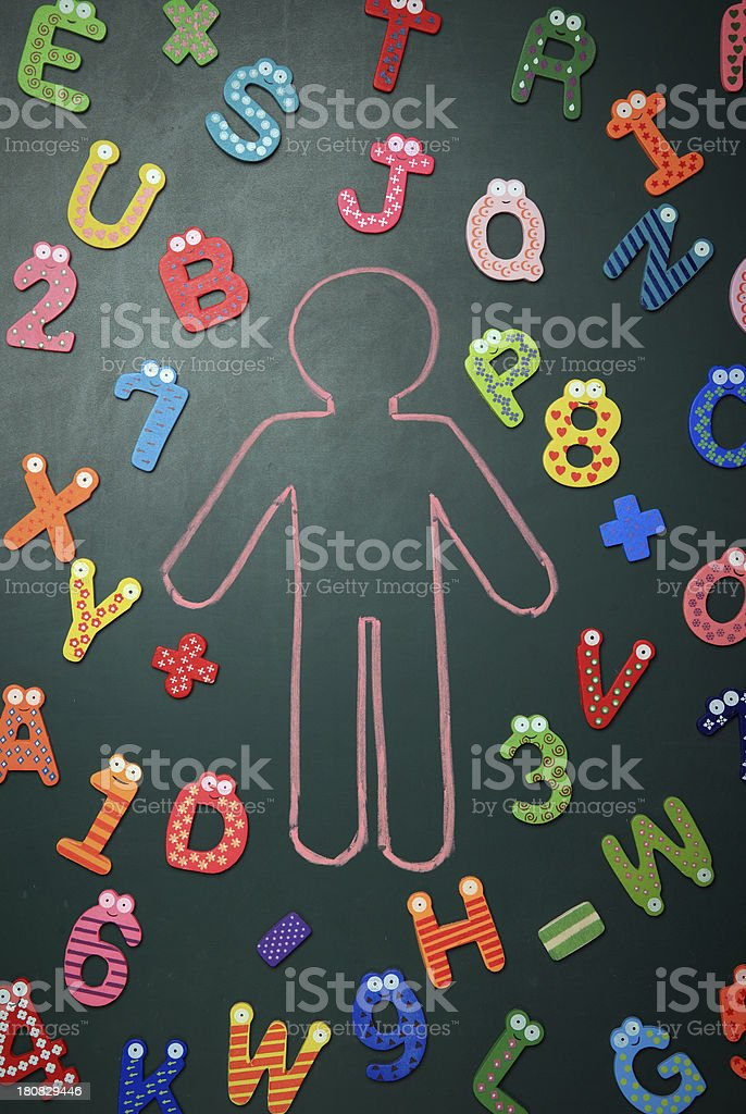 Human and colorful alphabet royalty-free stock photo