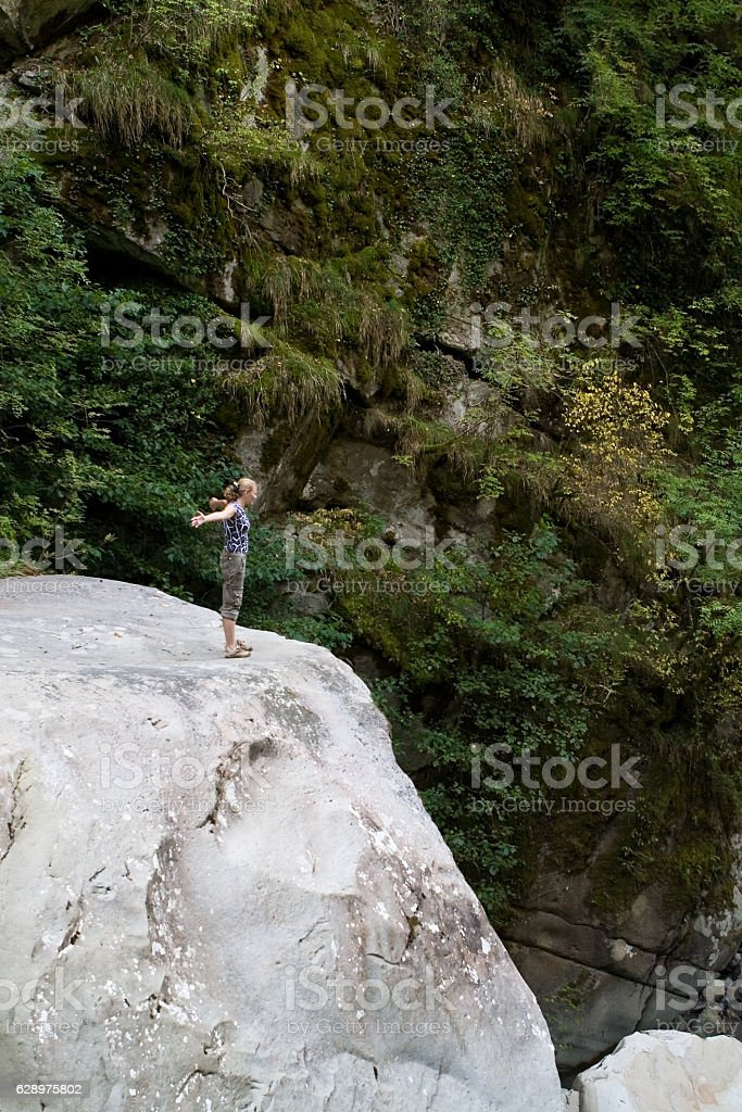 Human and nature. The mountains. stock photo