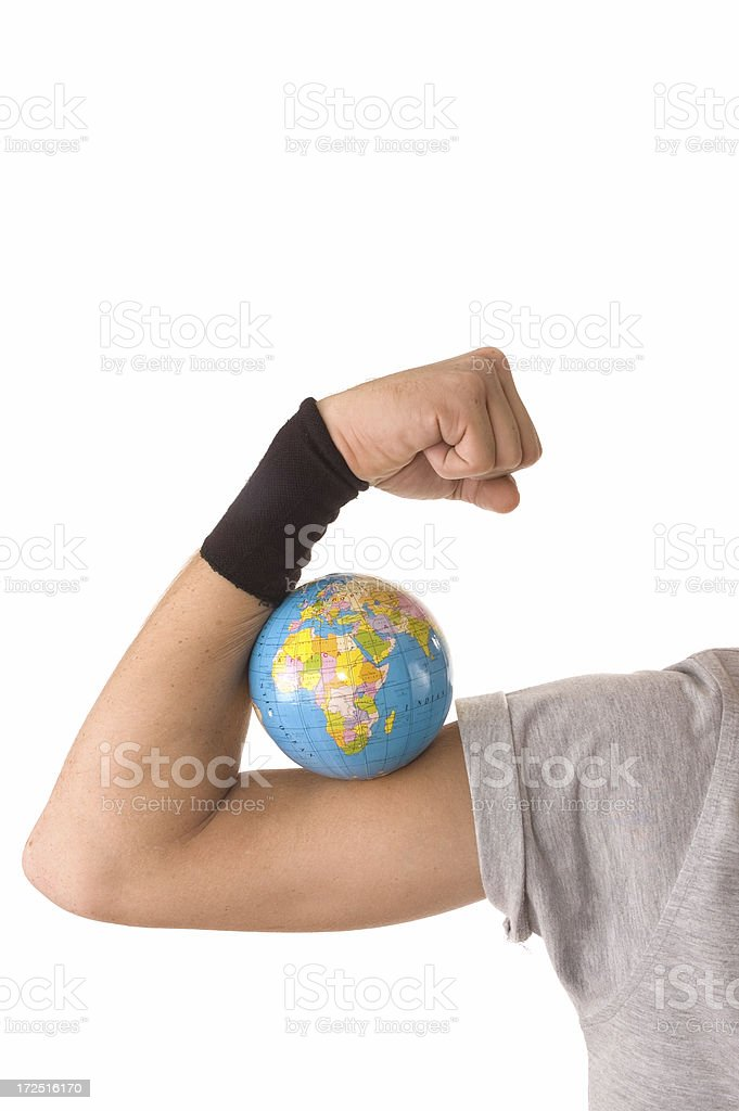 human arm and globe royalty-free stock photo