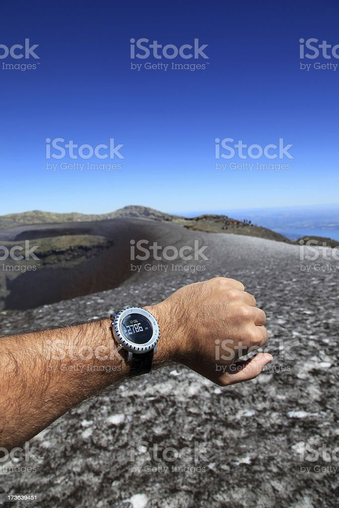 Human Arm Showing Altimeter at Villarrica Volcano Summit, Pucon, Chile royalty-free stock photo