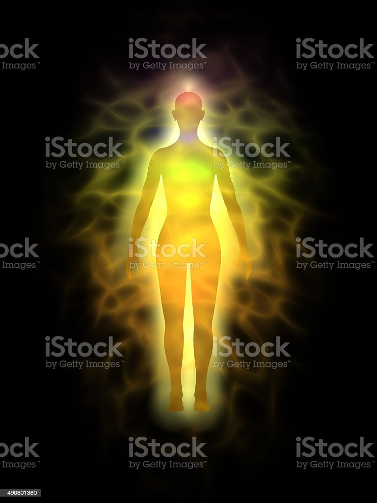 Human aura and chakras - woman stock photo
