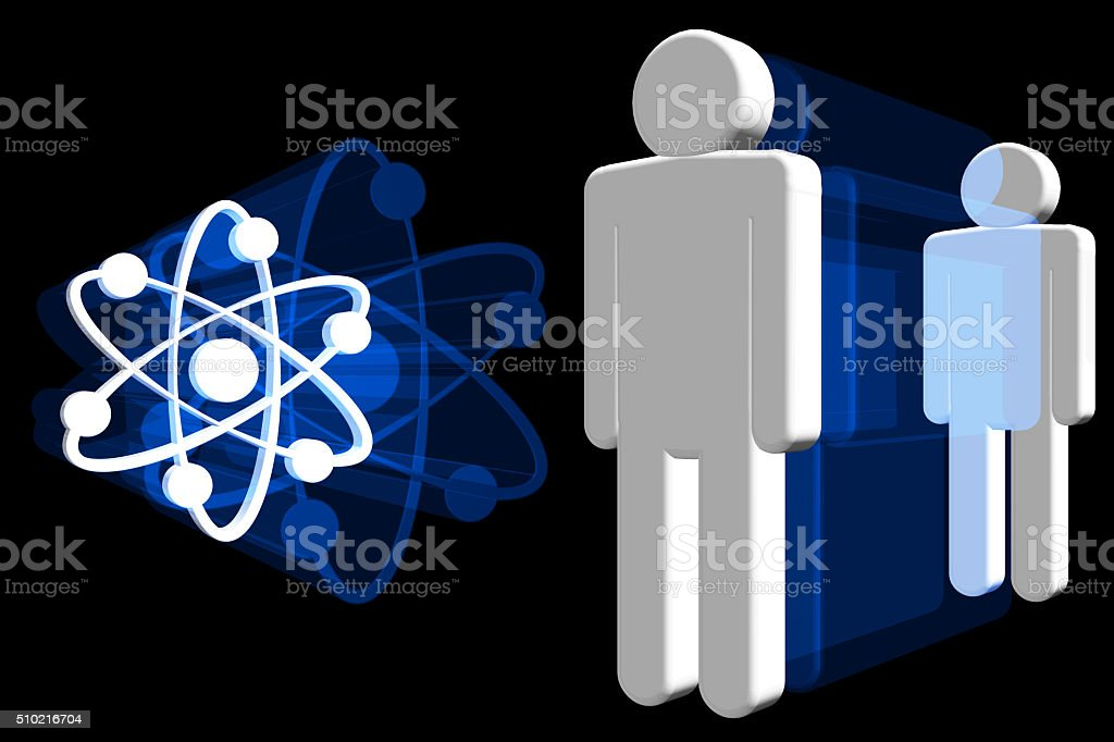 Human Body and Atom Structure 3D stock photo
