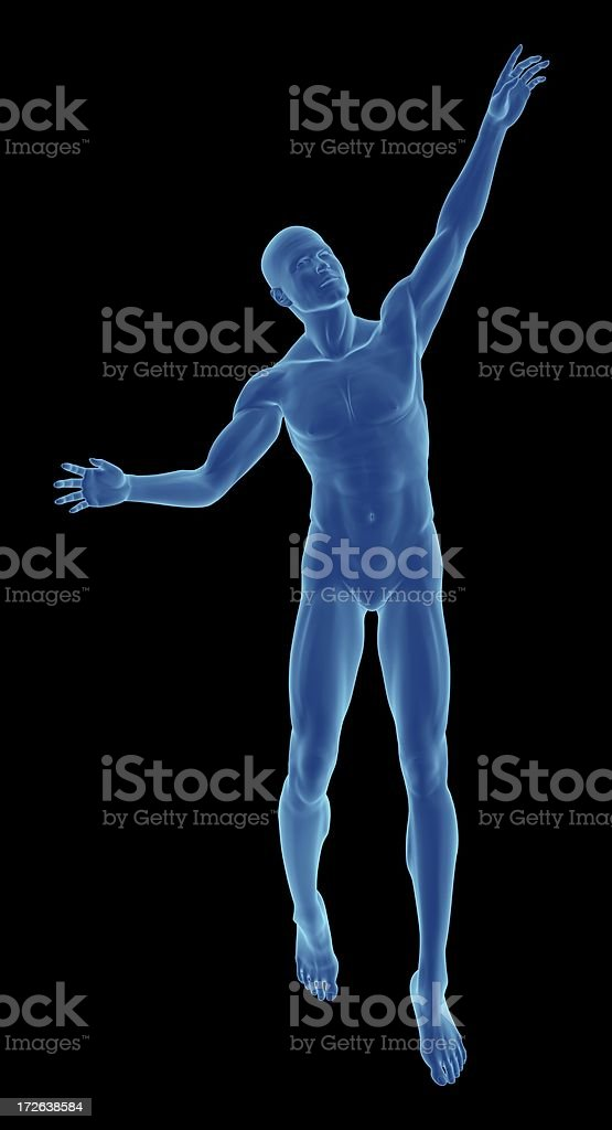 Human body of a man almost float royalty-free stock photo
