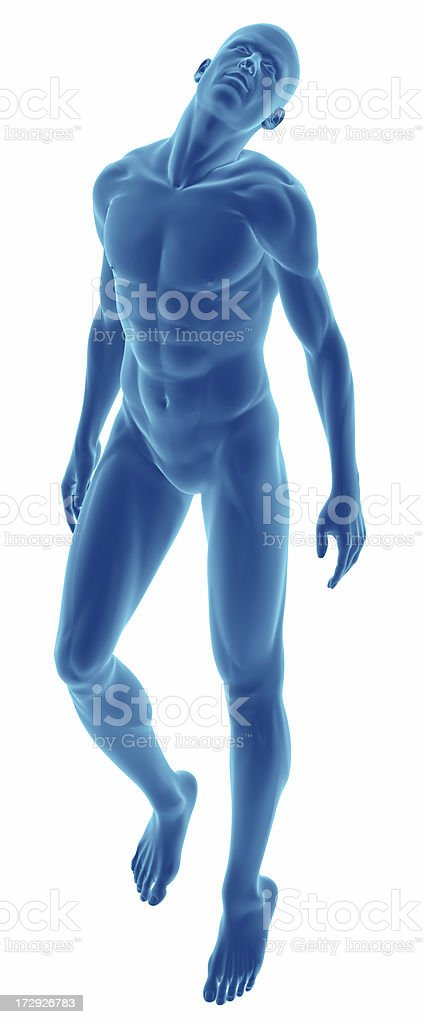 Human body of a man floating for study royalty-free stock photo