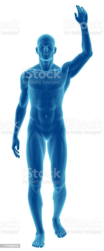Human body of a man with arm over his head royalty-free stock photo