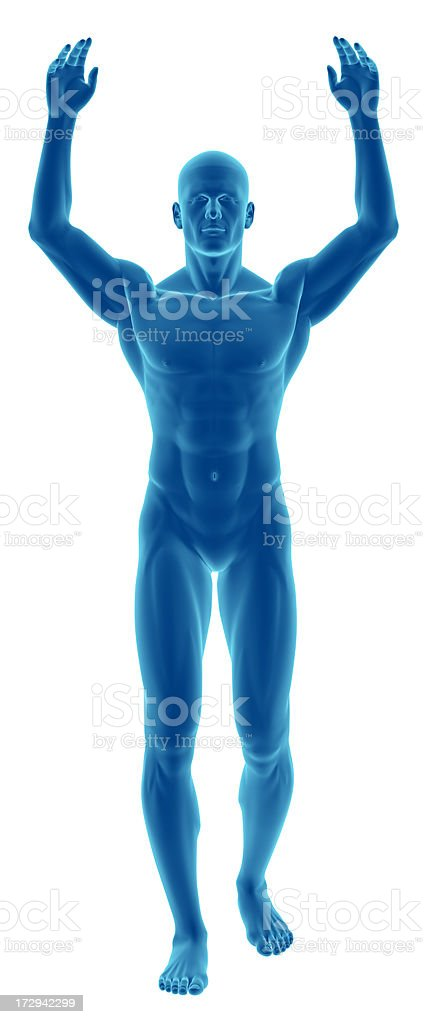 Human body of a man with arms over his head stock photo