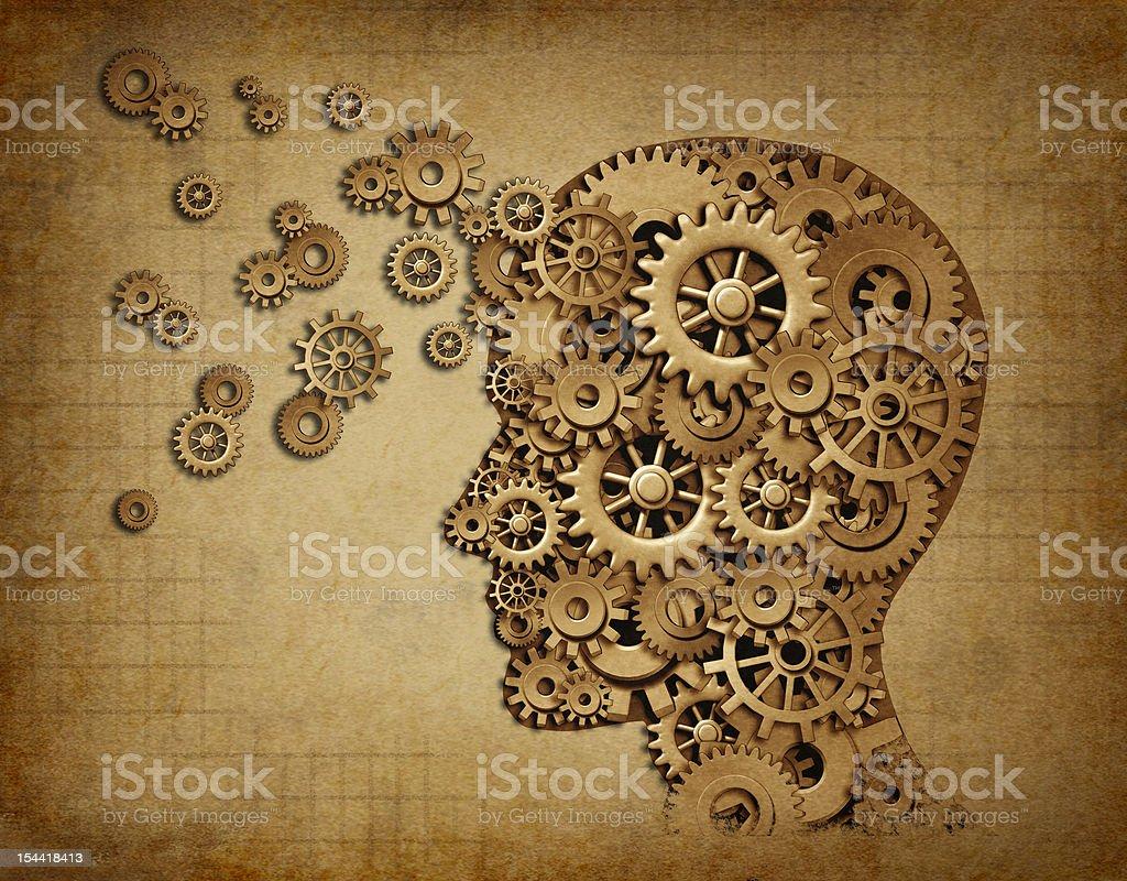 Human brain function grunge with gears stock photo