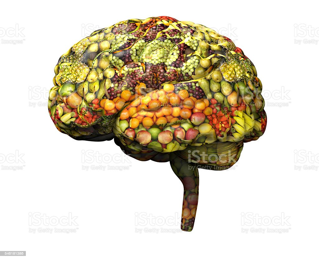 human brain made out of fruit and vegetables. stock photo