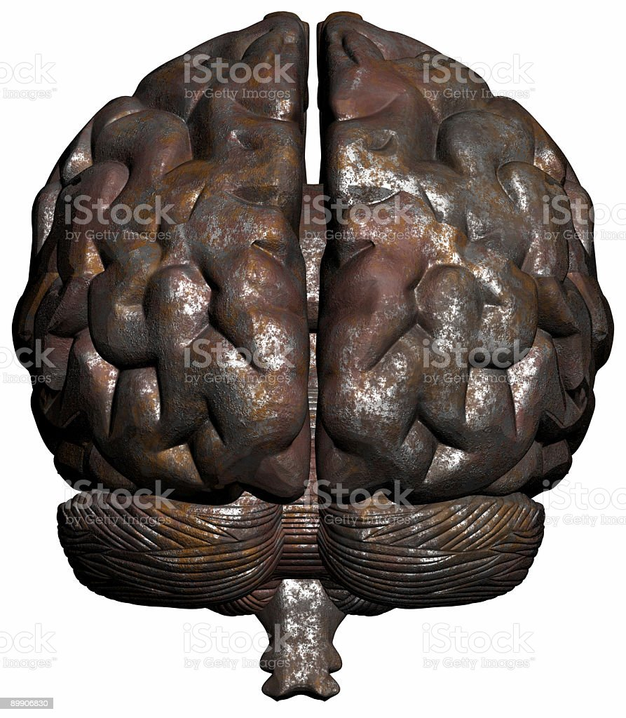 Human brain rusty on front view stock photo