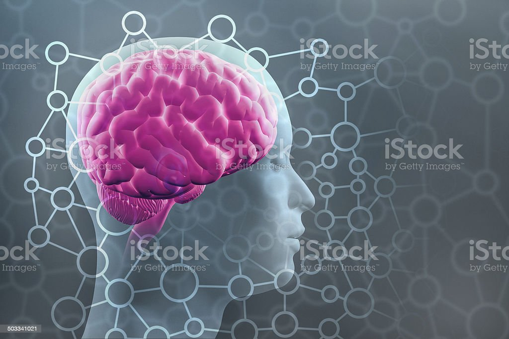 Human brain with mind constellation, thinking, contemplating stock photo