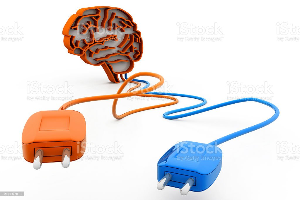 human brain with plug and cable stock photo
