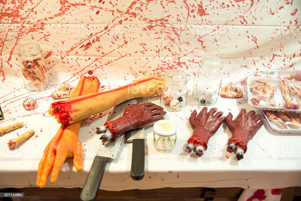 Human butchered on a table stock photo