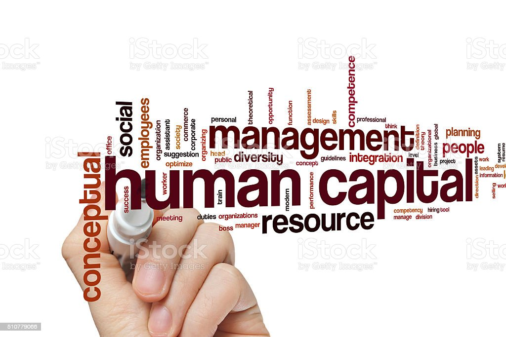 Human capital word cloud stock photo