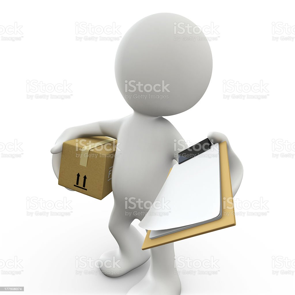3D Human Delivery royalty-free stock photo