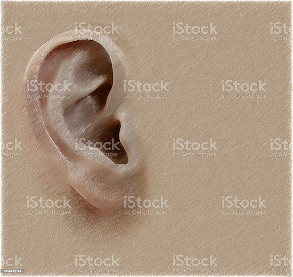 Human ear. Digital illustration in draw, sketch style.  Background stock photo