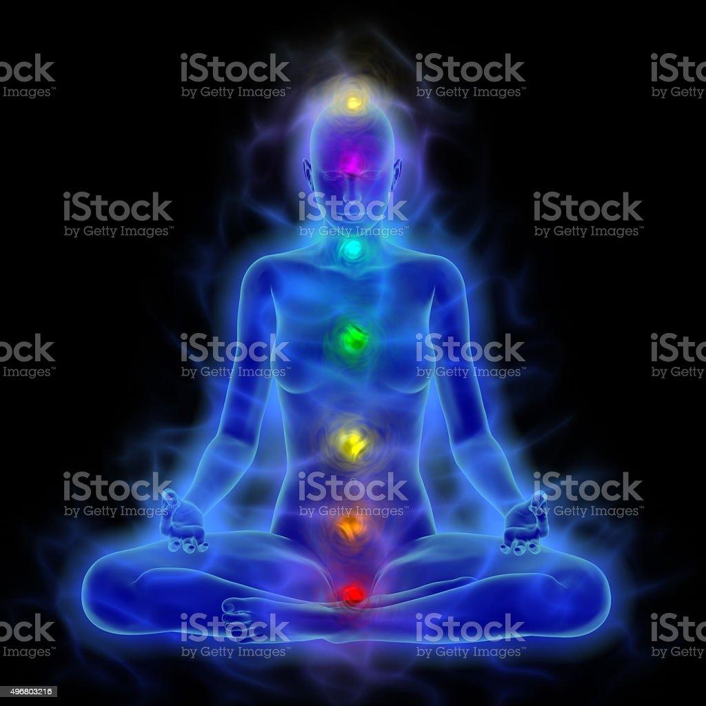 Human energy body, aura, chakras in meditation stock photo