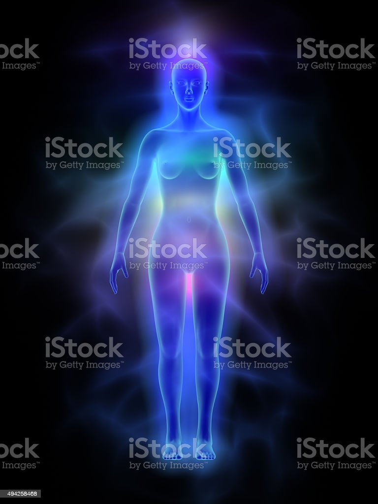 Human energy body (aura) with chakras - woman stock photo