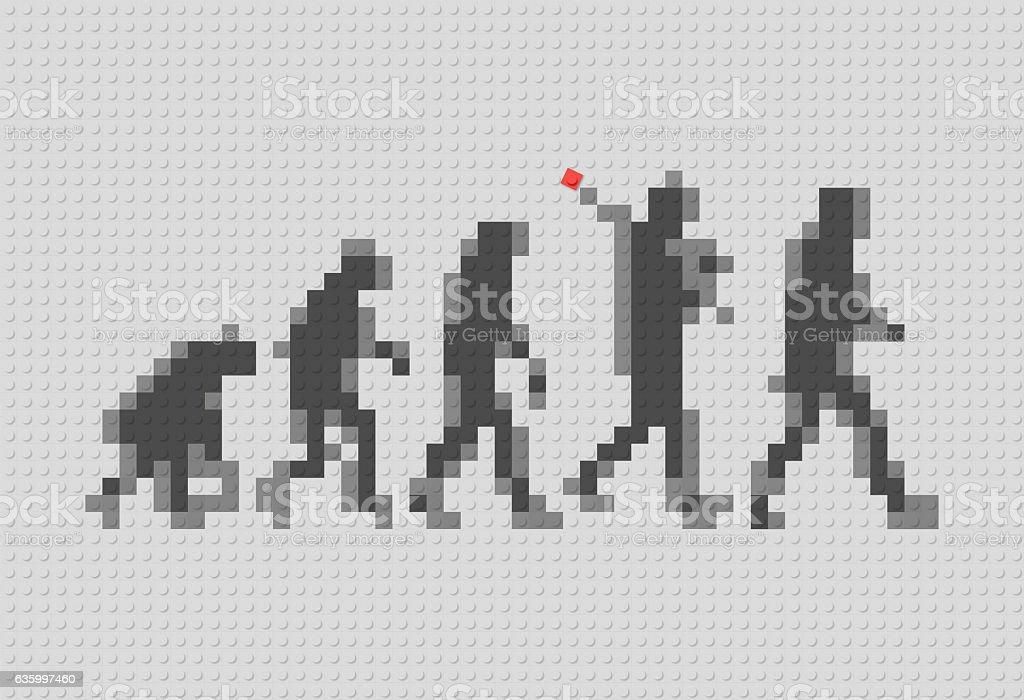 human evolution concept with plastic blocks stock photo