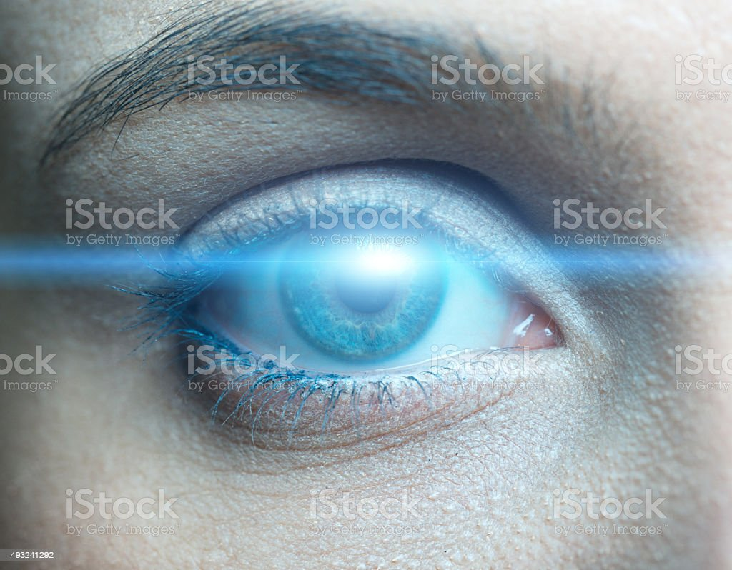 Human eye technological concept stock photo