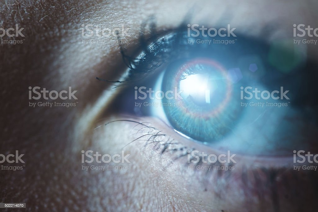 Human eye technological concept stock photo