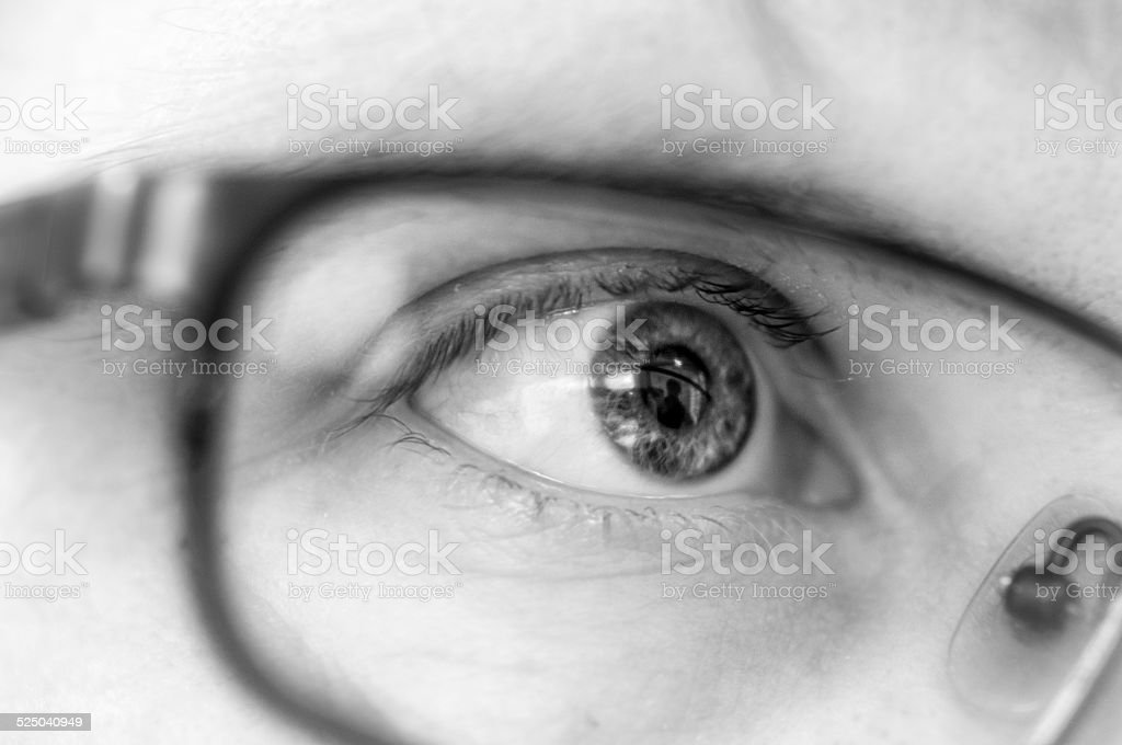 Human Eye Wearing Glasses stock photo