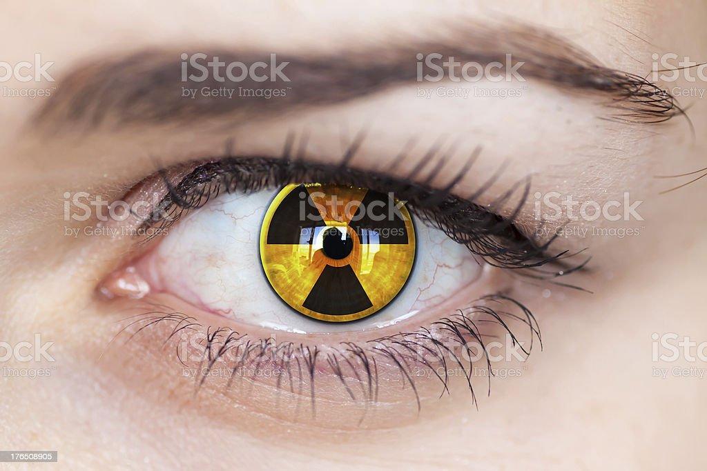 Human eye with radiation symbol. stock photo