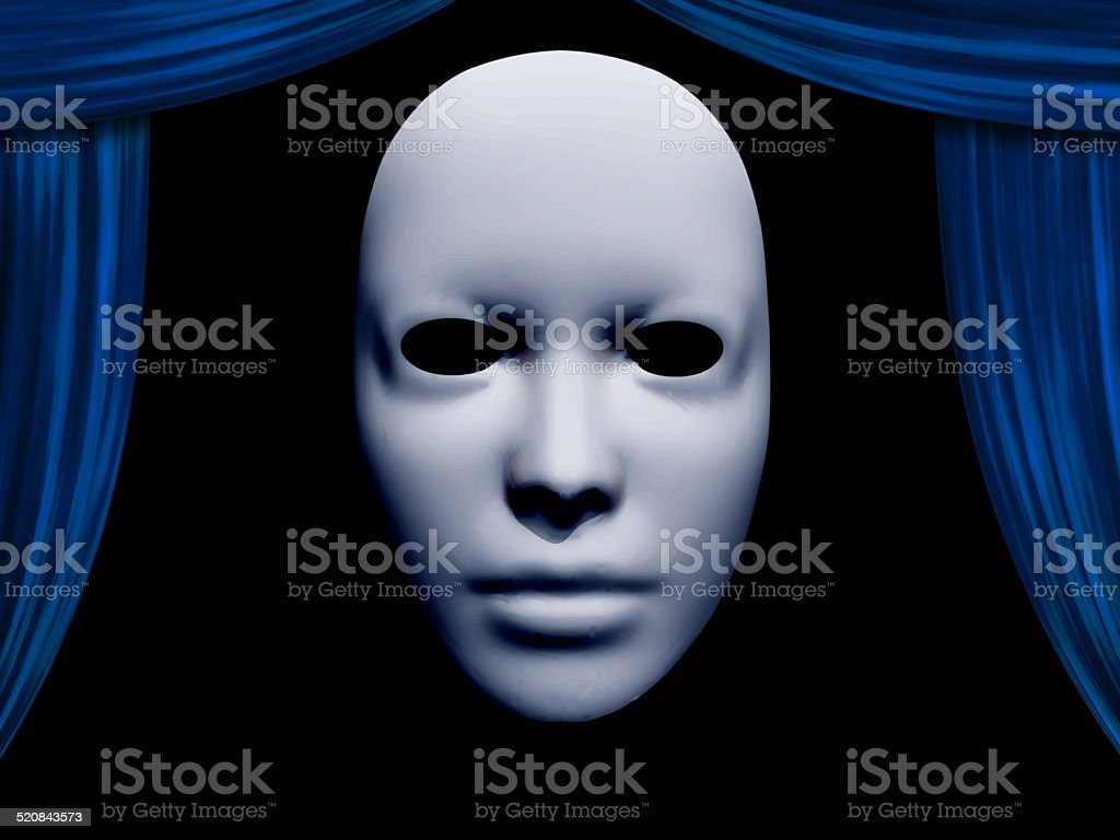 human face mask and curtains stock photo