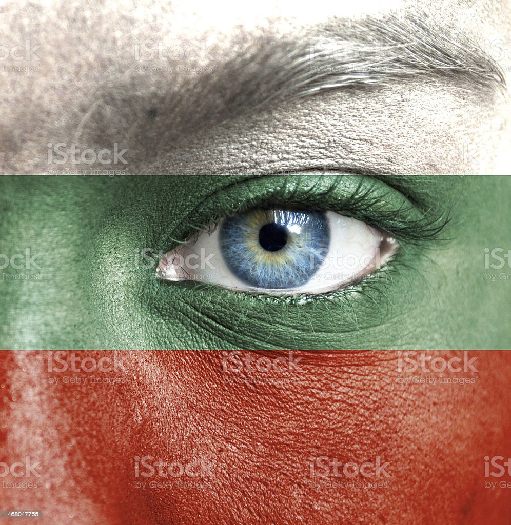 Human face painted with flag of Bulgaria stock photo