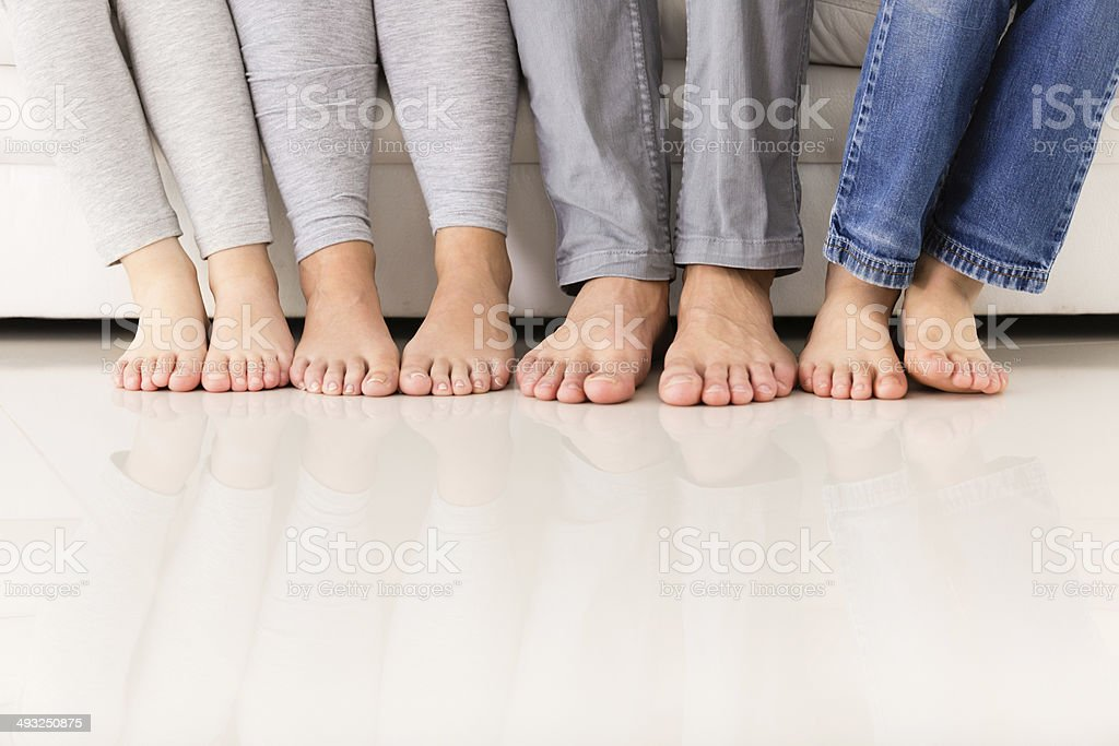 Human feet on the floor stock photo
