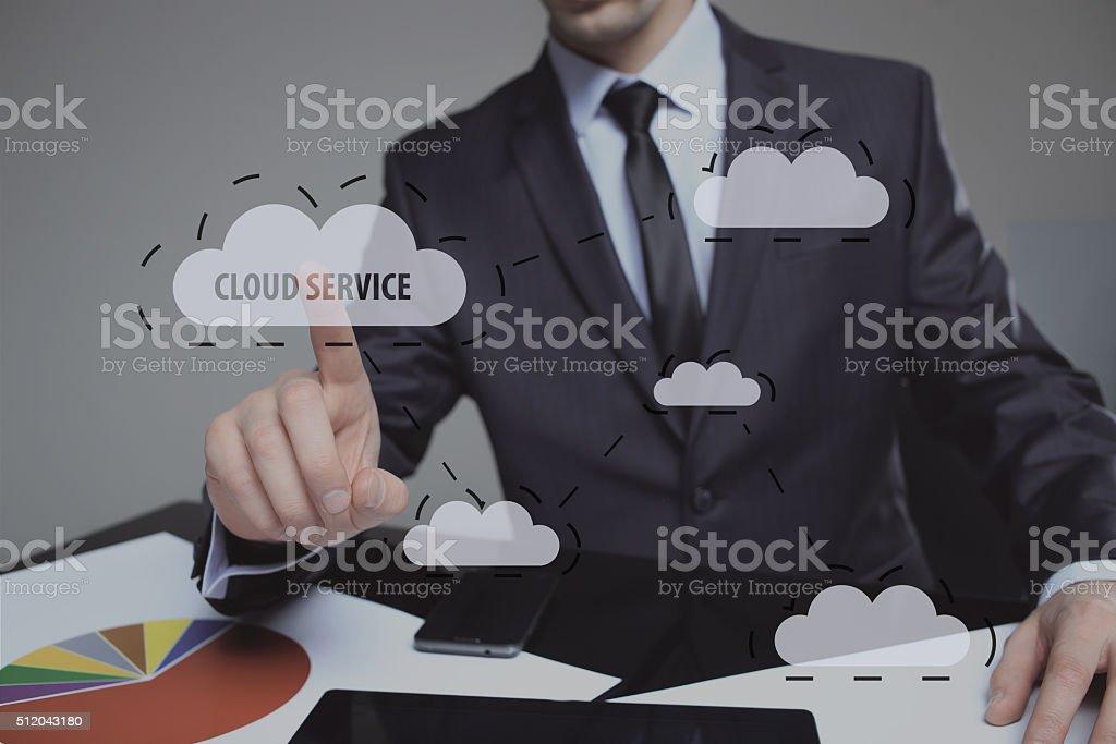 Human finger pressing high tech glowing modern cloud service interface stock photo