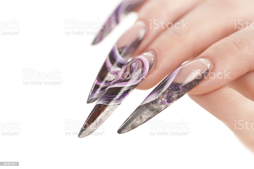 Human fingers with the beautiful fingernail stock photo