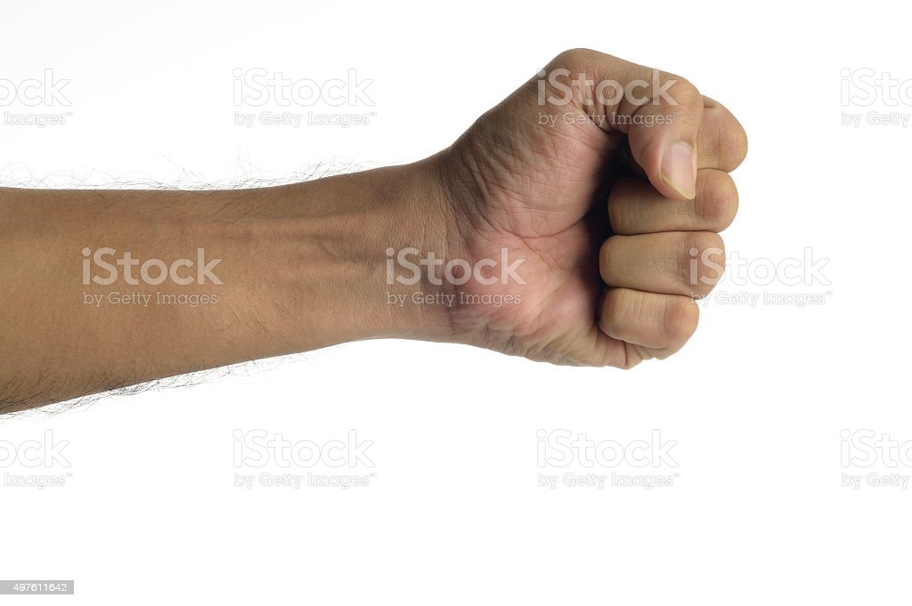 Human Fist on white background shot in studio stock photo