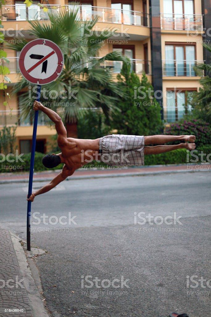 Bandera humanos en la calle foto de stock libre de derechos