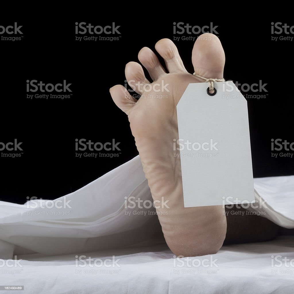 Human foot with blank toe tag stock photo