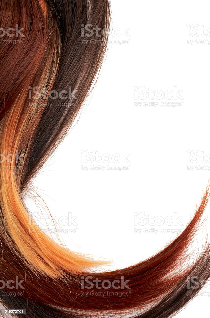Human hair on white stock photo