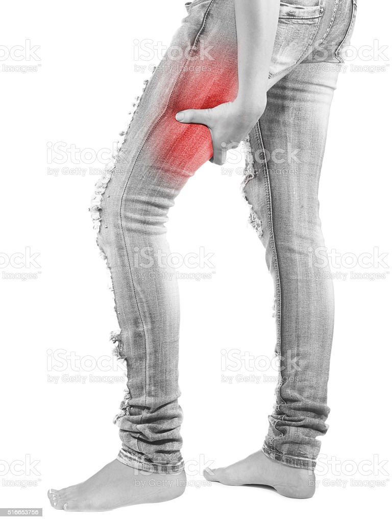 Human hamstring pain with an anatomy injury. stock photo