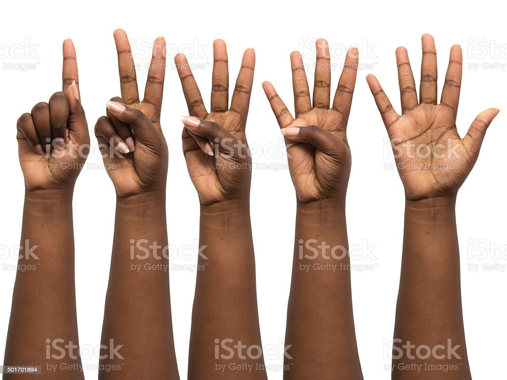 Human hand african ethnicity isolated on white stock photo