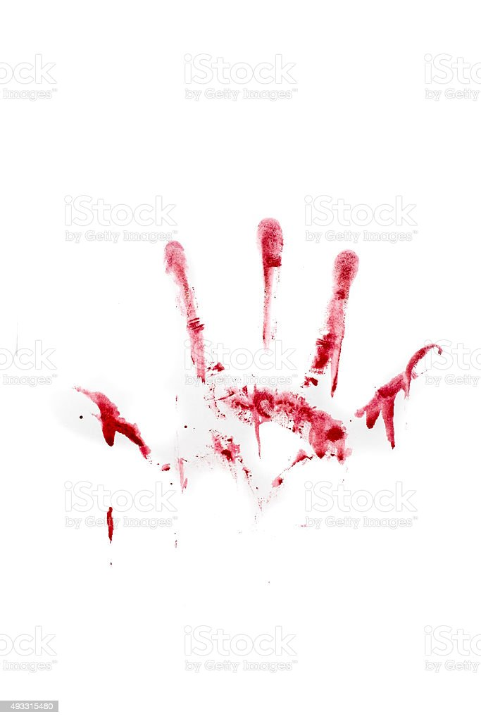 Human hand and fingers bloody print isolated on white background stock photo