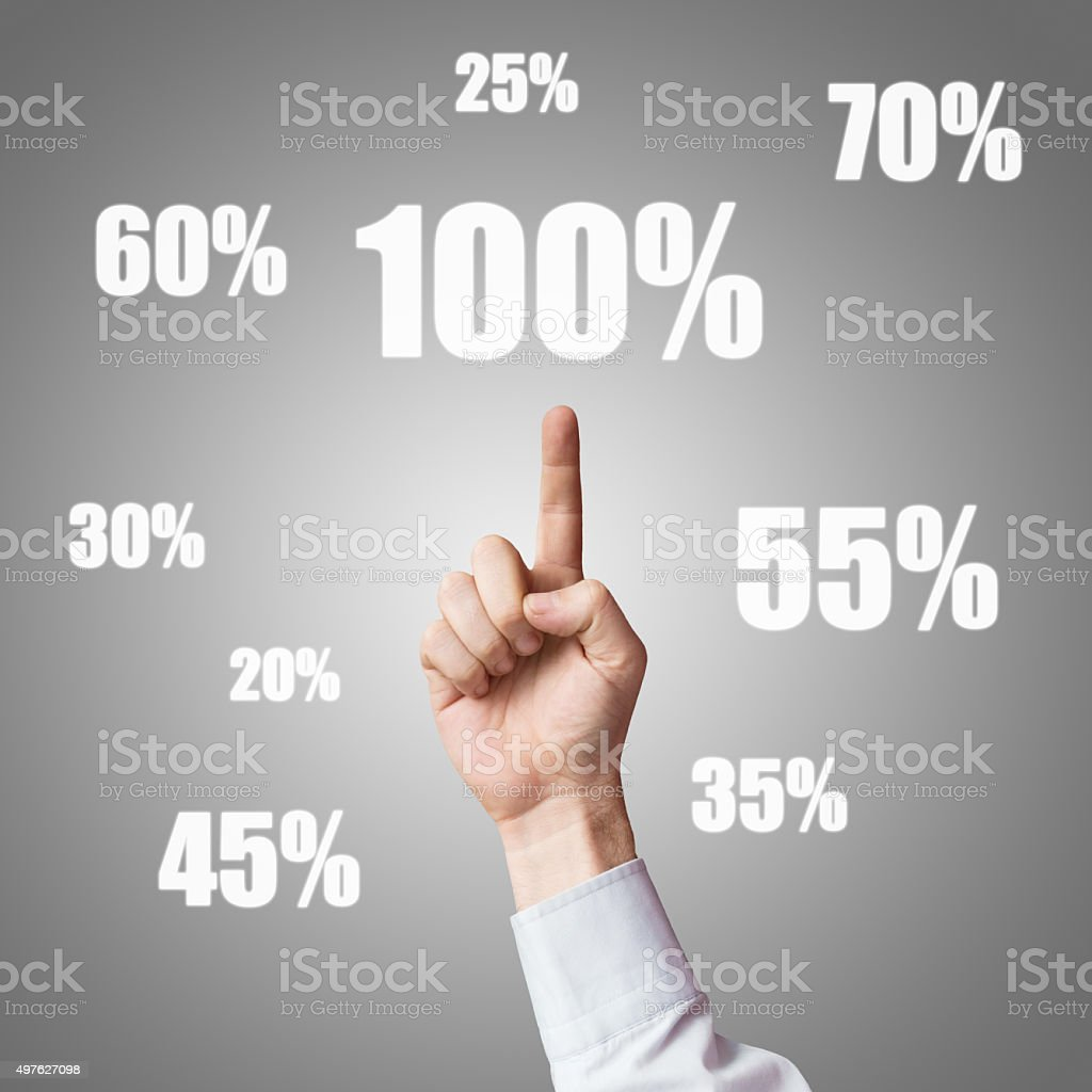 Human hand and percentage symbols stock photo