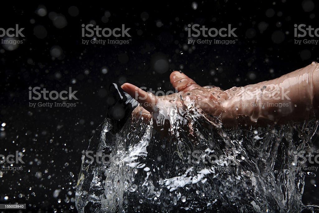 human hand and water stock photo
