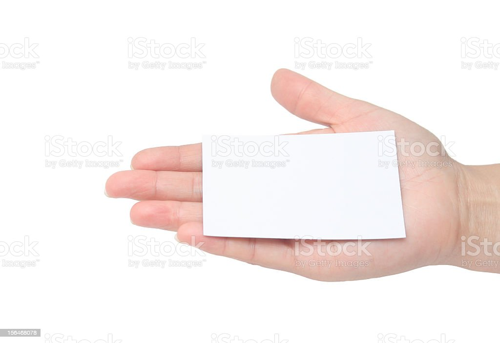 human hand  Business Card royalty-free stock photo