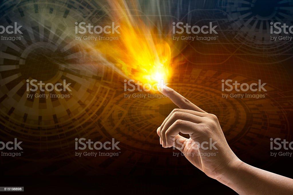 Human hand catch fire stock photo