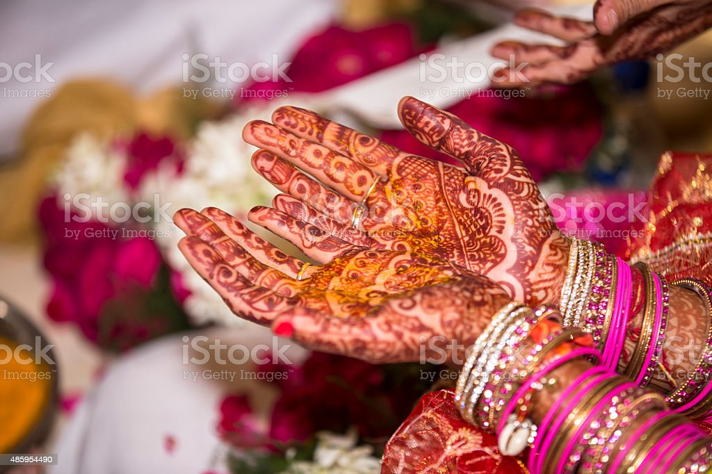 Human hand decorated with henna tattoo also called Mehendi stock photo