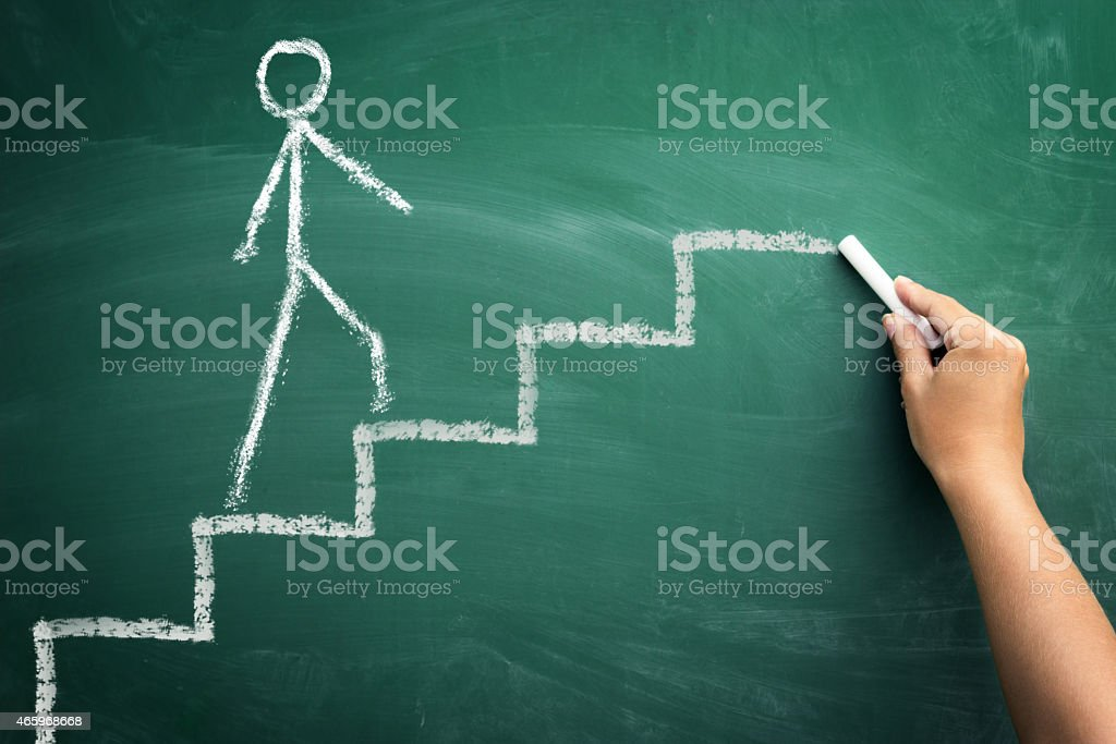 human hand drawing career stairs with chalk stock photo