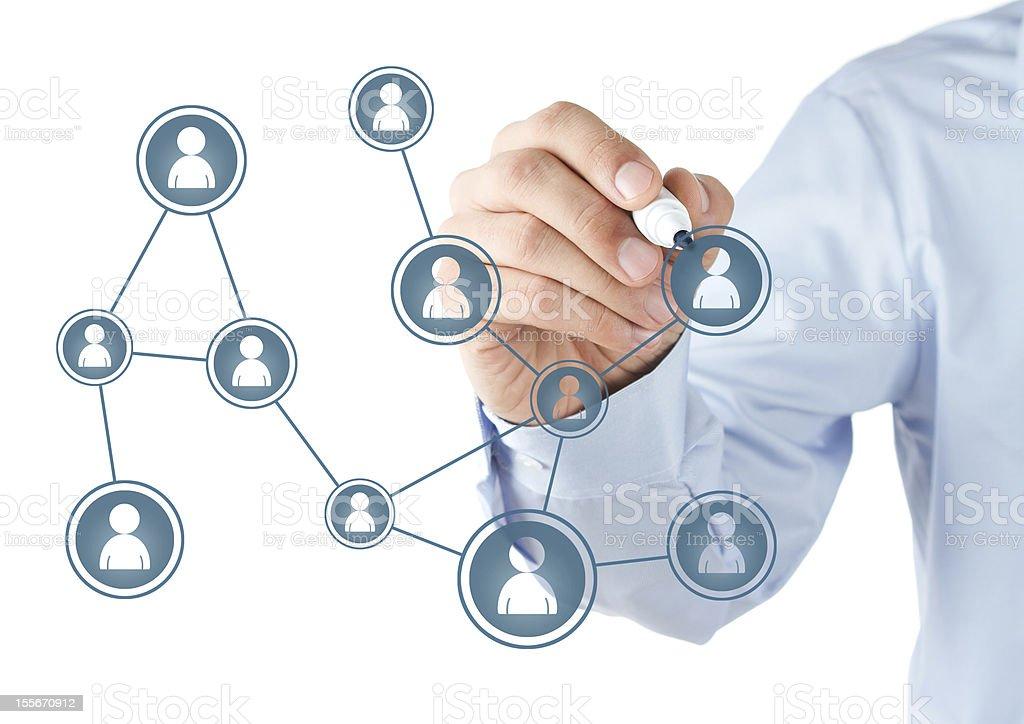 Human hand drawing social media diagram stock photo