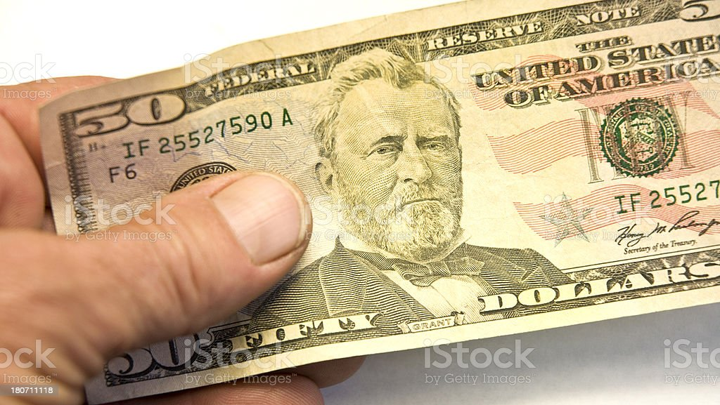 Human Hand Holding A Fifty Dollar Bill With President Grant royalty-free stock photo