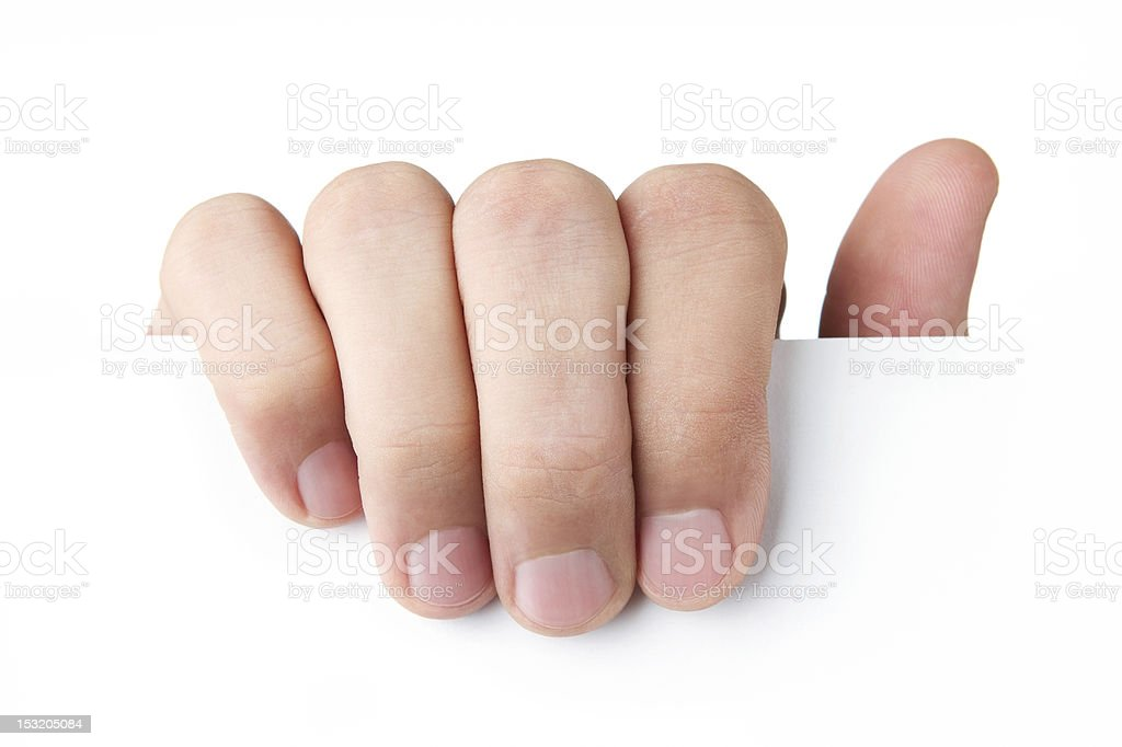 Human hand holding blank card royalty-free stock photo