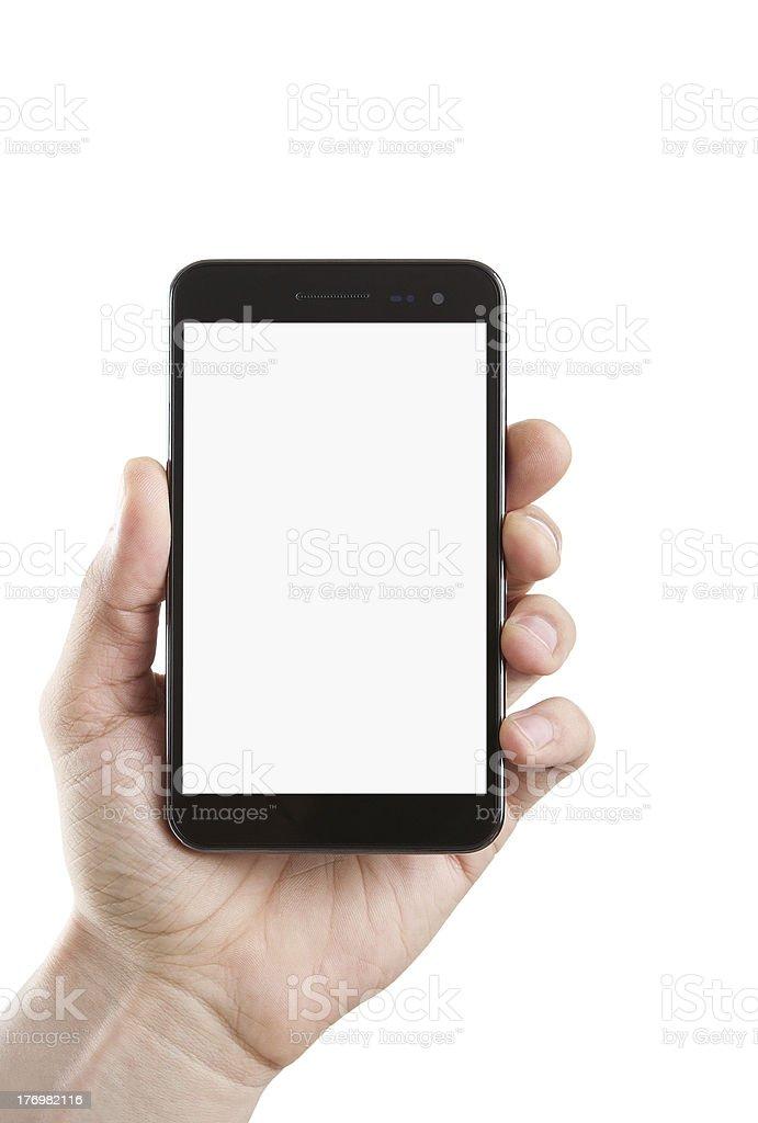 Human hand holding blank phone stock photo