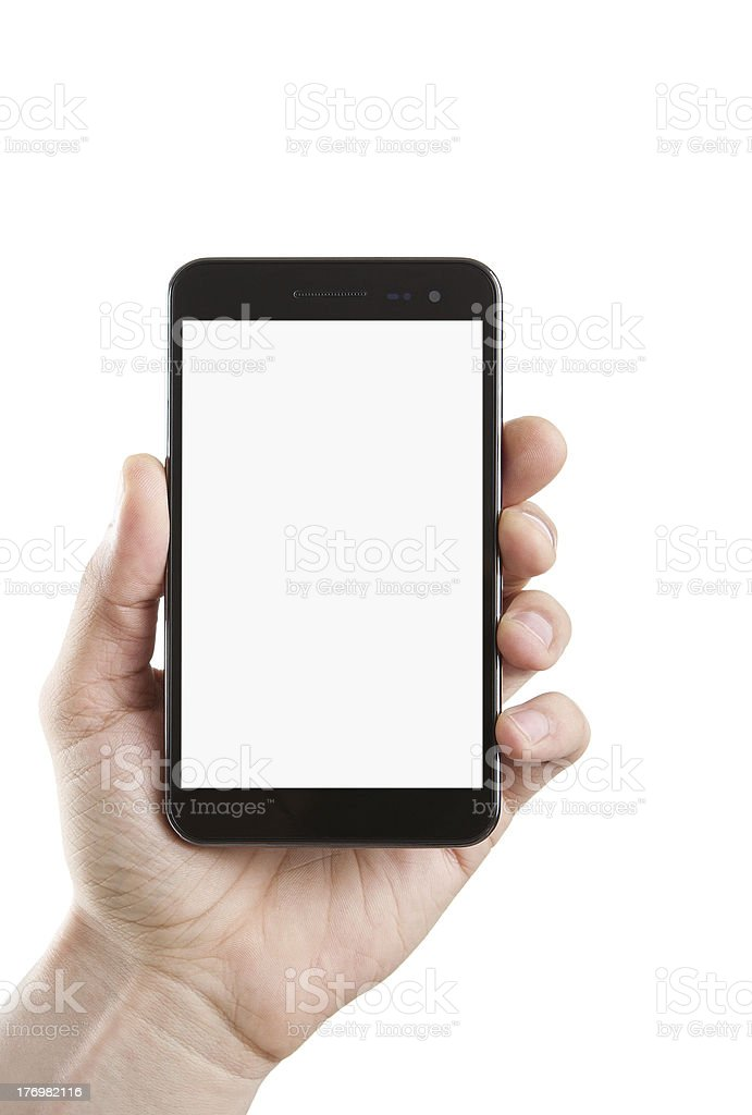Human hand holding blank phone stock photo