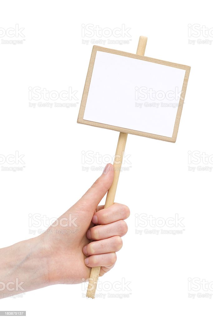 Human hand holding blank placard royalty-free stock photo